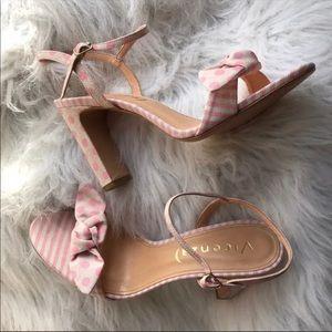 🆕NIB Striped & Dotted Vicenza Pink Heels